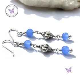 Blue Chalcedony Silver Flower Dangle Earrings
